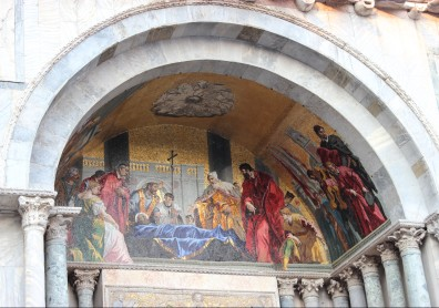 Detailed mosaic on the facade of Basilica di San Marco
